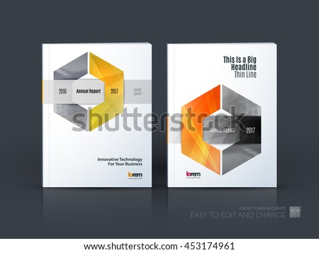 Brochure template layout, cover design annual report, magazine, flyer or leaflet in A4 with orange hexagon with overlap effect for business with industrial and modern concept. Vector set. - stock vector