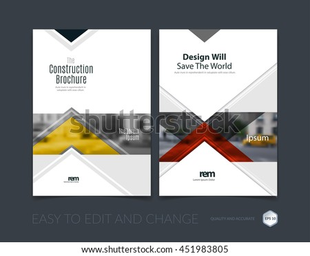 Brochure template layout, cover design annual report, magazine, flyer or leaflet in A4 with red arrows, triangles with overlap effect for business with industrial and modern concept. Vector set.  - stock vector