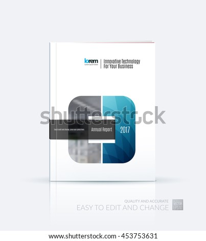 Brochure template layout, cover design annual report, magazine, flyer or leaflet in A4 with square with overlap effect for business with industrial and modern concept. Vector. - stock vector