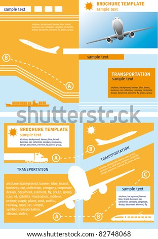 Brochure template ?n a theme of transport and travel.