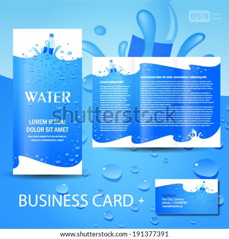 Brochure template water aqua splash bottle stock vector for Water brochure template