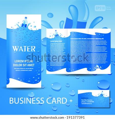 brochure template water aqua splash bottle drops element design vector - stock vector
