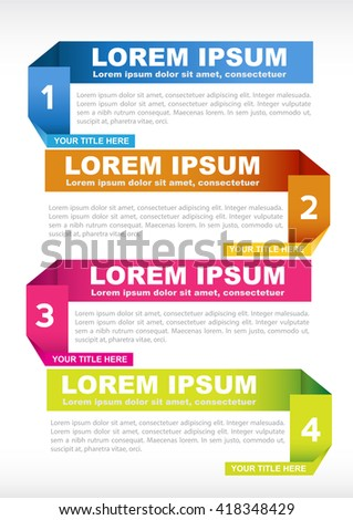 Brochure vector background with origami colored labels for four steps - stock vector