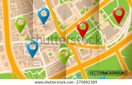 Brochure with folds city map with markers - stock vector