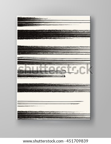 Brochure with Monochrome Strip Backgrounds. Abstract Modern Decoration. Wallpaper with empty space for your text. Watercolor design. Vector illustration. - stock vector