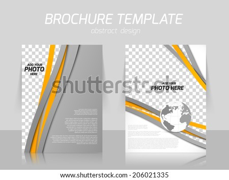 Brochure with orange and gray lines and globe for booklet cover design - stock vector