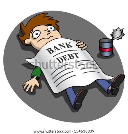 Broke. Bank debt. - stock vector
