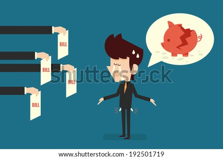broke man - stock vector
