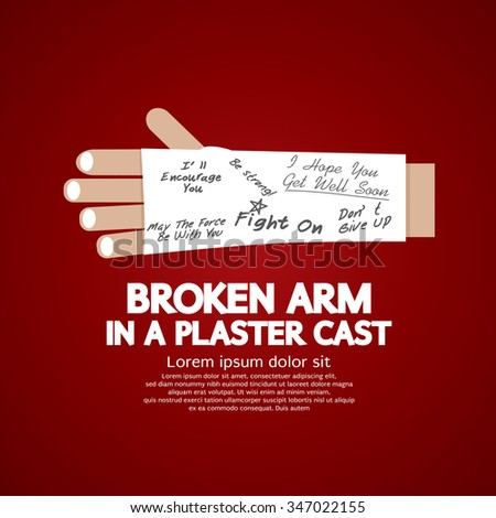 Broken Arm in a Plaster Cast Vector Illustration