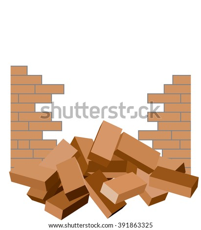Broken brick wall with bricks in the foreground isolated on white / Construction demolish brick fence ruin background template / Vector illustration - stock vector