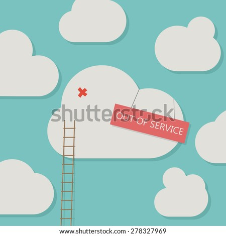 Broken cloud service - stock vector