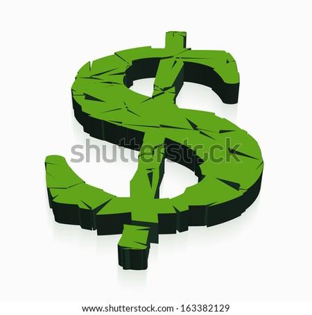 broken dollar in 3D - stock vector