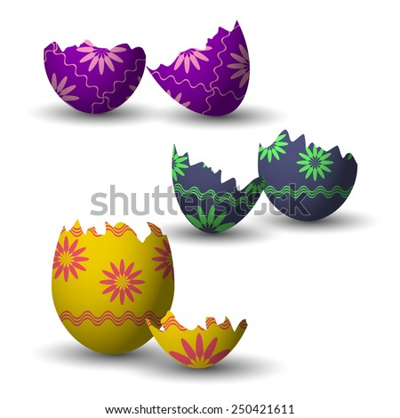 Broken easter eggs collection with decoration. Vector illustration. - stock vector