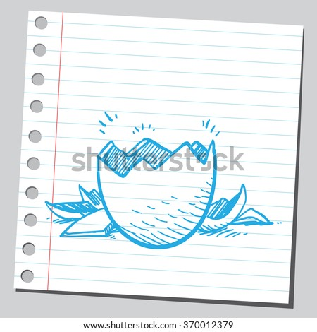 Broken egg - stock vector