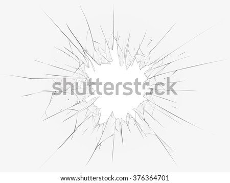 Broken glass on a white background. Vector illustration