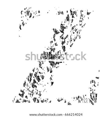 Broken Grunge Pixelated AlphabetUppercase Letter Z