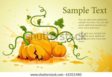 broken halloween pumpkin on grunge background vector illustration - stock vector