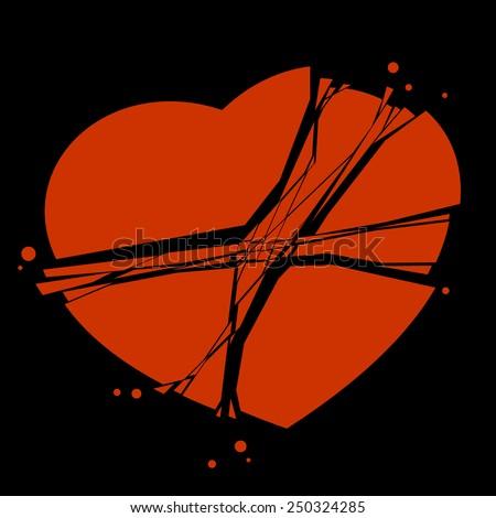 broken heart - stock vector