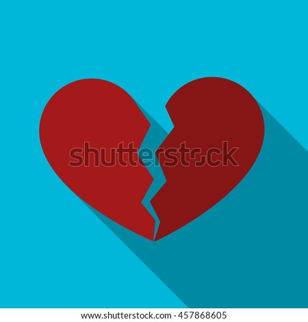 Broken heart flat icon illustration isolated vector sign symbol