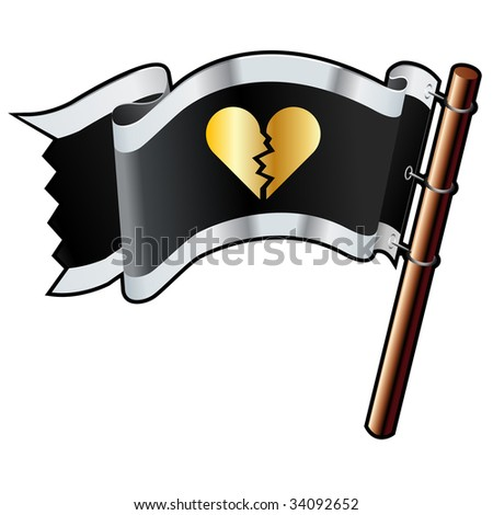 Broken heart icon on black, silver, and gold vector flag good for use on websites, in print, or on promotional materials