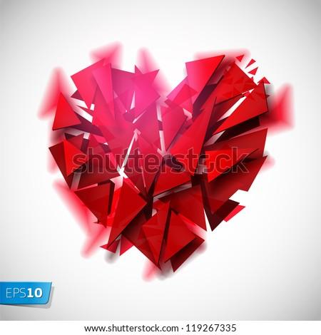 Broken heart on a white background, vector Eps 10 illustration - stock vector
