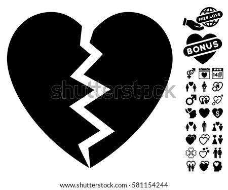 Broken Heart Pictograph Bonus Lovely Design Stock Vector 581154244