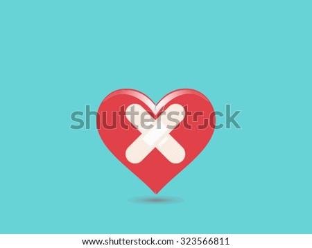 broken heart sad vector illustration - stock vector