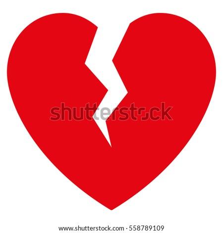 broken heart vector icon flat red stock vector 558789214