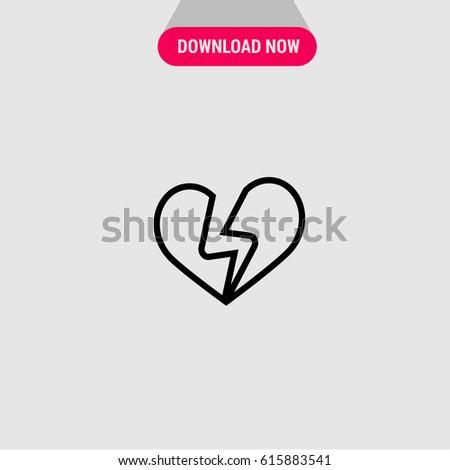 Broken Heart Vector Icon Outlined Symbol Stock Vector 615883541