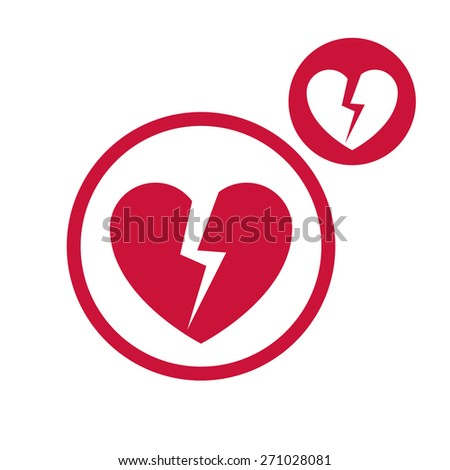 Broken heart vector simple single color icon isolated on white background, includes invert version for you to choose.