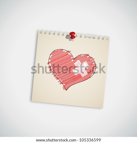 Broken Heart with Bandage on Note Paper Vector - stock vector