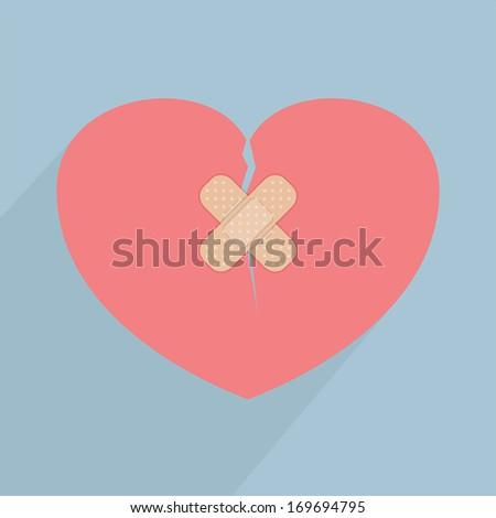 Broken heart with bandage, VECTOR, EPS10 - stock vector