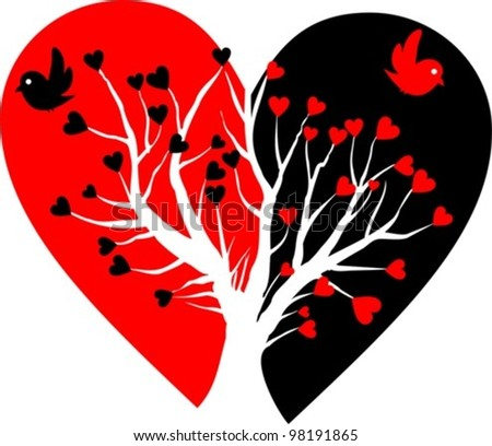 broken heart with white tree and two birds - vector illustration - stock vector