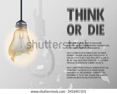 broken incandescent light bulb incandescent light bulb with hanging rope - stock vector