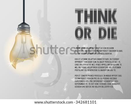 broken incandescent light bulb incandescent light bulb with hanging rope - stock vector