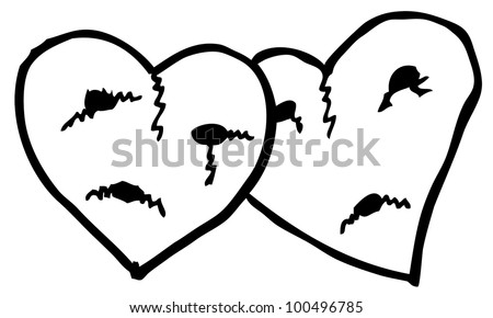 broken love illustration - stock vector