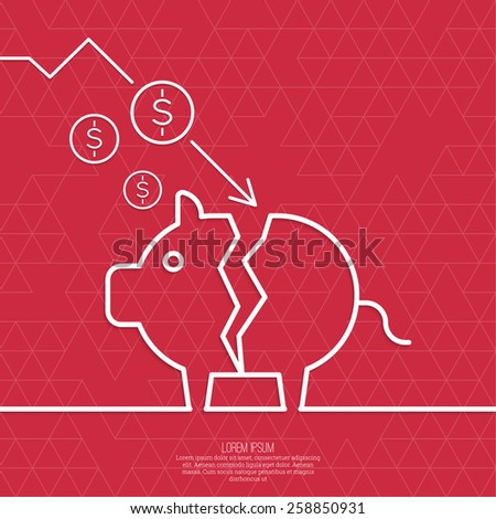 Broken pig piggy bank. Symbol of bankruptcy.  Loss of points Currency. Falling through asset outflows. Red background. dollar symbol. minimal. Outline. - stock vector