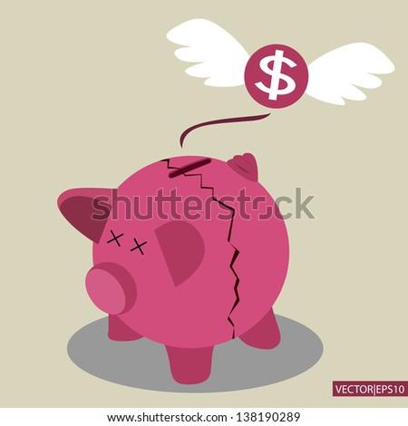 Broken Piggy Bank - stock vector