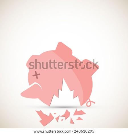 Broken piggy bank - EPS 10 vector - stock vector