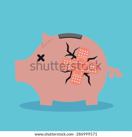 Broken pink pig-moneybox - stock vector