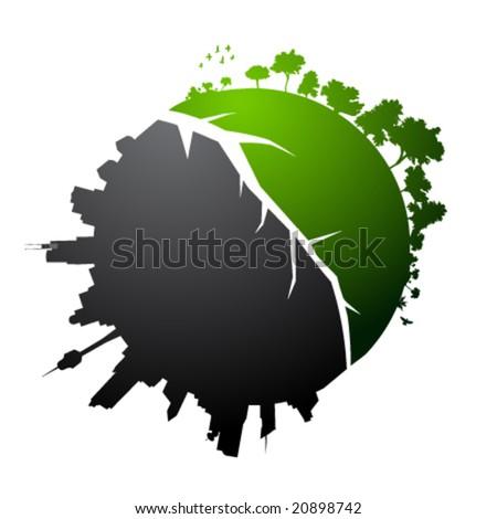 Broken planet illustration - vector - stock vector