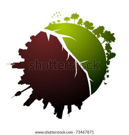 Broken planet illustration - vector - stock vector