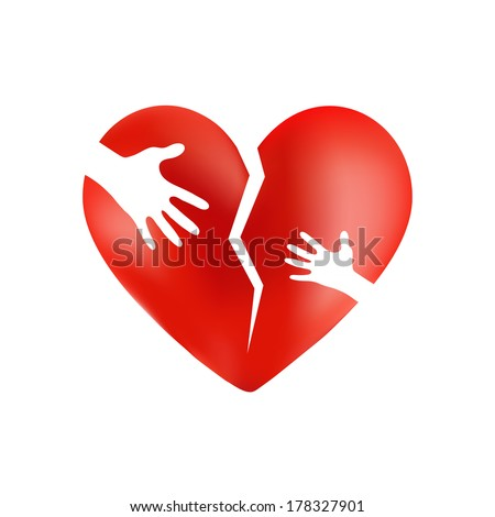 Broken red heart with hands of adult and child on it, isolated on white background - stock vector