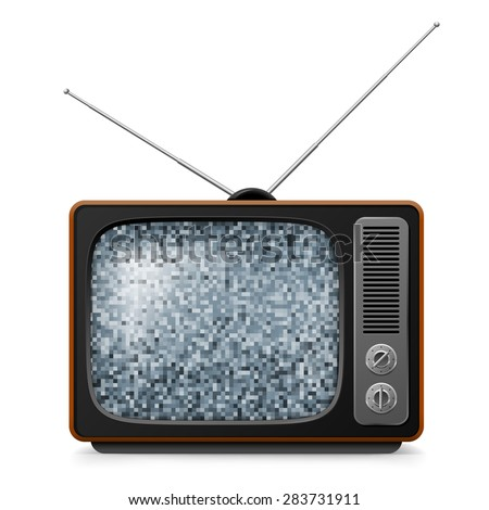 Broken retro TV with noise on screen. Illustration on white  - stock vector