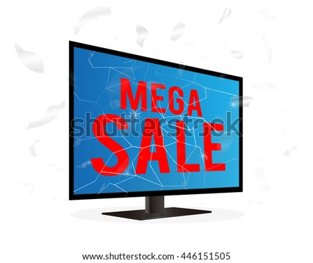 broken screen television with mega sale word