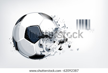 Broken soccer ball on white background. Abstract grunge style. EPS 10 vector illustration. - stock vector