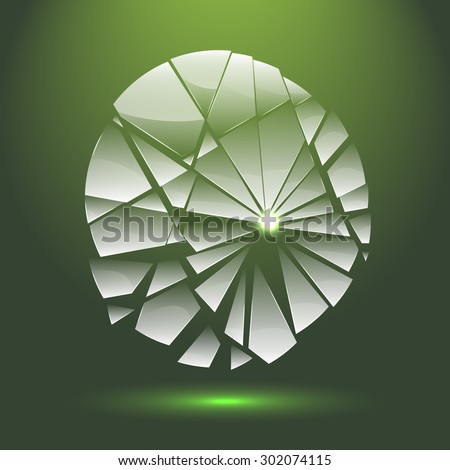 Broken transparent glass with adaptation to background. Broken glass logo for your company. Green broken glass. Shiny broken glass. Broken glass with patch of reflected light. Broken glass.   - stock vector