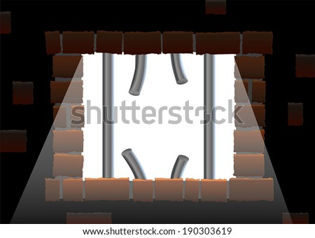 Broken up bars of a jail house window. Sunlight shines into the prison. - stock vector