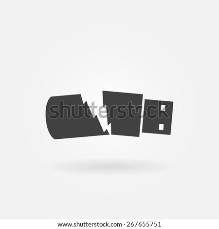 Broken USB flash drive icon - data loss symbol - stock vector