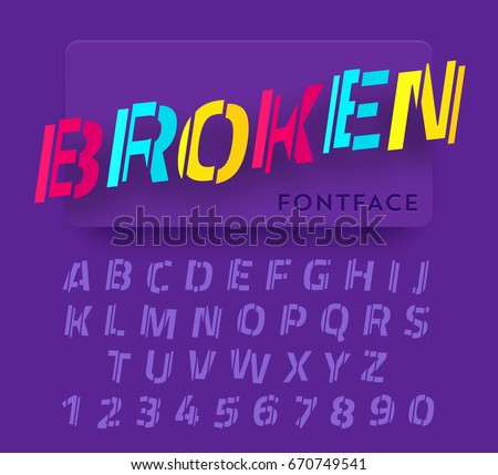 Broken vector paper cut font. Trendy realistic colorful material design typeset. Latin alphabet from a to z and numbers from 0 to 9.